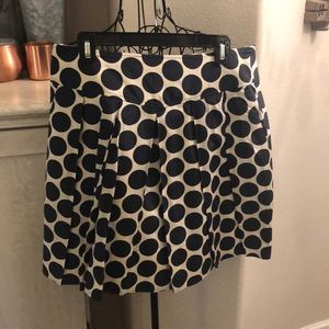 Navy and Cream Silk and Cotton Polka Dot Skirt